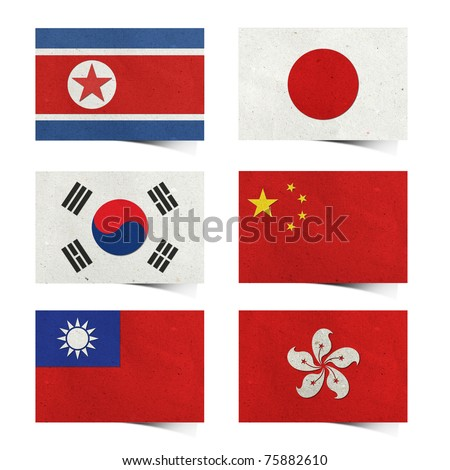 Nation Flag ( asia 01) . tag recycled paper craft  stick on white background . North Korea Rp., South Korea , Japan , China , Taiwan , Hong kong ) - stock photo