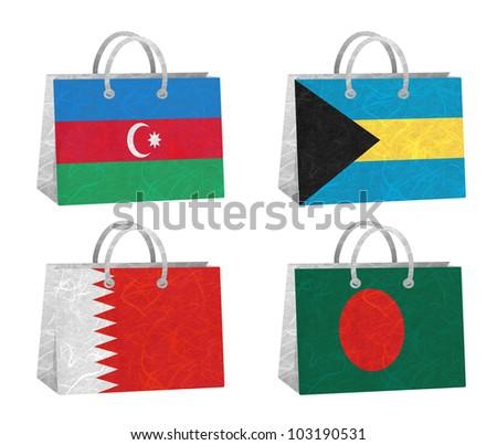 Nation Flag. Bag recycled paper on white background. ( Azerbaijan , Bahamas , Bahrain , Bangladesh ) - stock photo