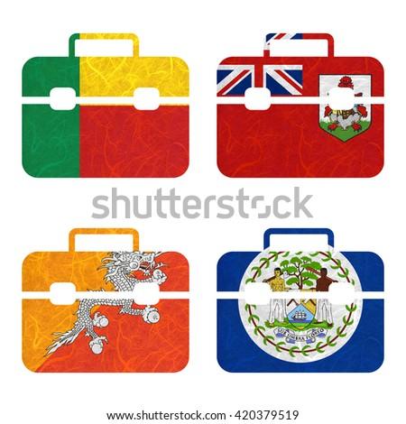 Nation Flag. Bag recycled paper on white background. ( Belize , Benin , Bermuda , Bhutan ) - stock photo