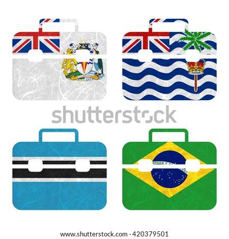 Nation Flag. Bag recycled paper on white background.  ( Botswana , Brazil , British Antarctic Territory , British Indian Ocean Territory ) - stock photo