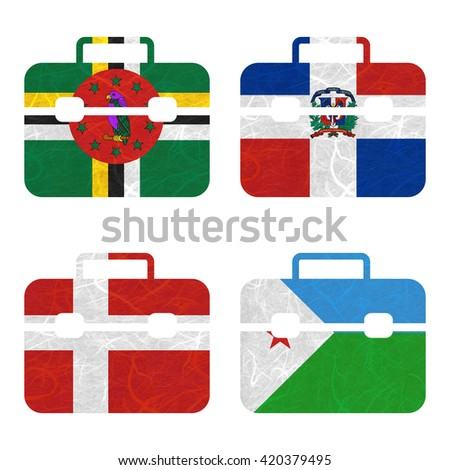 Nation Flag. Bag recycled paper on white background. ( Denmark , Djibouti , Dominica , Dominican Republic ) - stock photo