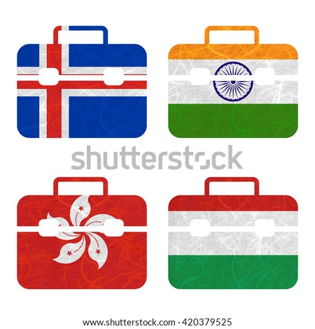 Nation Flag. Bag recycled paper on white background. ( Hong Kong , Hungary , Iceland , India ) - stock photo