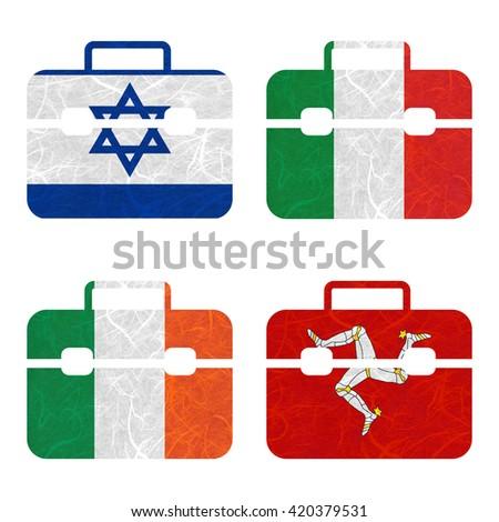 Nation Flag. Bag recycled paper on white background. ( Ireland , Isle of Man , Israel , Italy ) - stock photo
