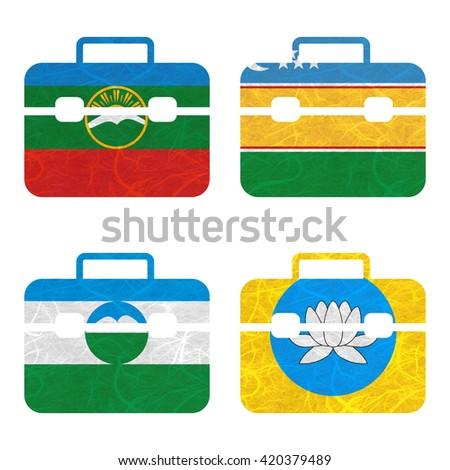 Nation Flag. Bag recycled paper on white background. ( Kabardino Balkarai , kalmykia , Karachay Cherkessia , Karakalpakstan ) - stock photo