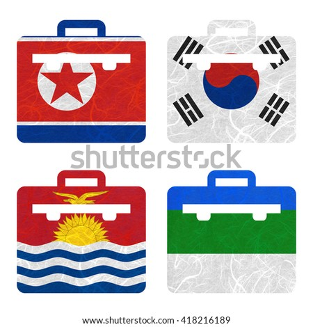Nation Flag. Bag recycled paper on white background. ( Kiribati , Komi , Korea North , Korea South ) - stock photo