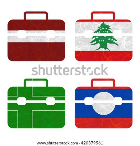 Nation Flag. Bag recycled paper on white background. ( Ladonia , Laos , Latvia , Lebanon ) - stock photo