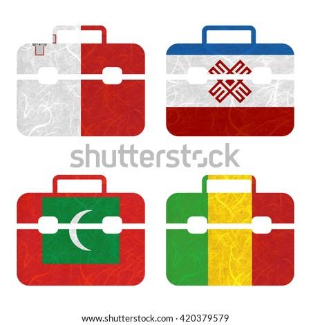Nation Flag. Bag recycled paper on white background. ( Maldives , Mali , Malta , Mari El ) - stock photo