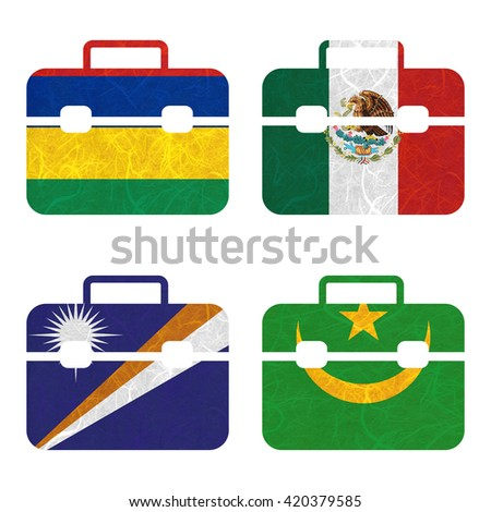 Nation Flag. Bag recycled paper on white background. ( Marshall Islands , Mauritania , Mauritius , Mexico ) - stock photo
