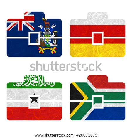 Nation Flag. Bag recycled paper on white background. ( Somaliland , South Africa , South Georgia and the South Sandwich Islands , South Ossetia ) - stock photo