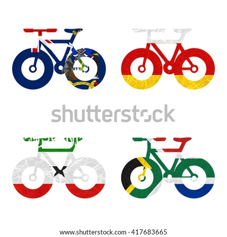 Nation Flag. Bicycle recycled paper on white background. ( Somaliland , South Africa , South Georgia and the South Sandwich Islands , South Ossetia ) - stock photo