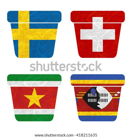 Nation Flag. Bin recycled paper on white background. ( Suriname , Swaziland , Sweden , Switzerland )