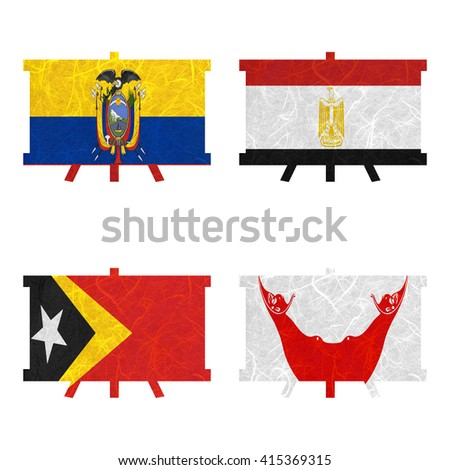 Nation Flag. Board recycled paper on white background. ( East Timor , Easter Island Rapa nui , Ecuador , Egypt )