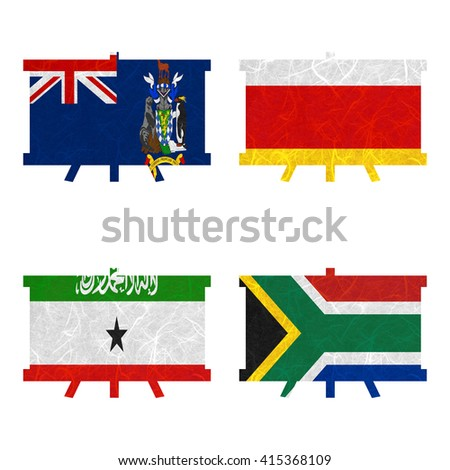 Nation Flag. Board recycled paper on white background. ( Somaliland , South Africa , South Georgia and the South Sandwich Islands , South Ossetia ) - stock photo