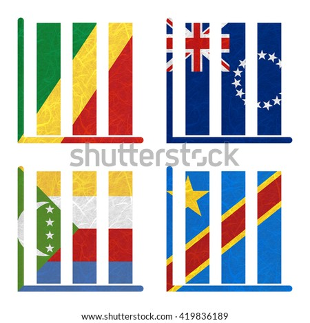 Nation Flag. Book-shelf recycled paper on white background. ( Comoros , Congo Democratic Republic , Congo Republic , Cook Islands)