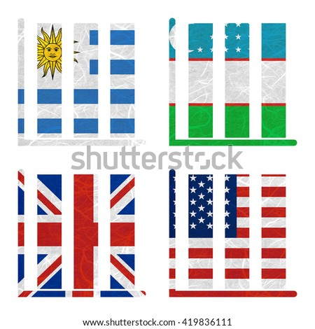 Nation Flag. Book-shelf recycled paper on white background. ( United Kingdom , United States of America , Uruguay , Uzbekistan )