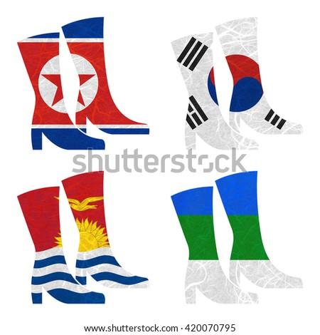 Nation Flag. Boot recycled paper on white background. ( Kiribati , Komi , Korea North , Korea South ) - stock photo