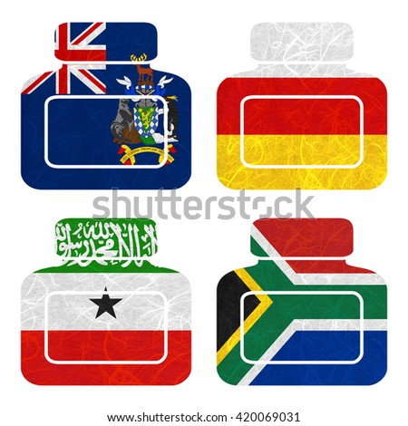 Nation Flag. Bottle recycled paper on white background. ( Somaliland , South Africa , South Georgia and the South Sandwich Islands , South Ossetia ) - stock photo