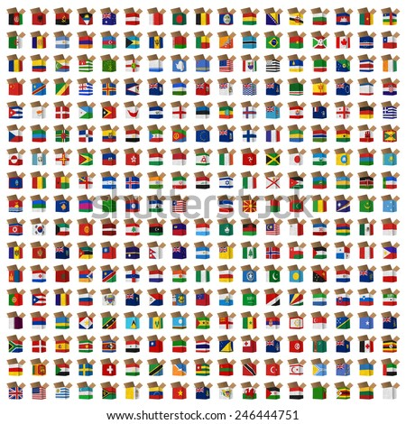 Nation Flag. Box recycled paper on white background. - stock photo
