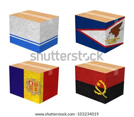 Nation Flag. Box recycled paper on white background. ( Altai Republic , American Samoa , Andorra , Angola ) - stock photo