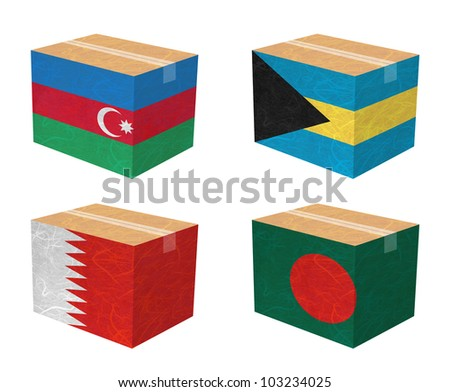 Nation Flag. Box recycled paper on white background. ( Azerbaijan , Bahamas , Bahrain , Bangladesh ) - stock photo