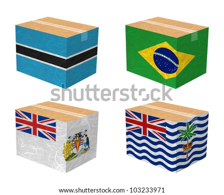 Nation Flag. Box recycled paper on white background. ( Botswana , Brazil , British Antarctic Territory , British Indian Ocean Territory ) - stock photo