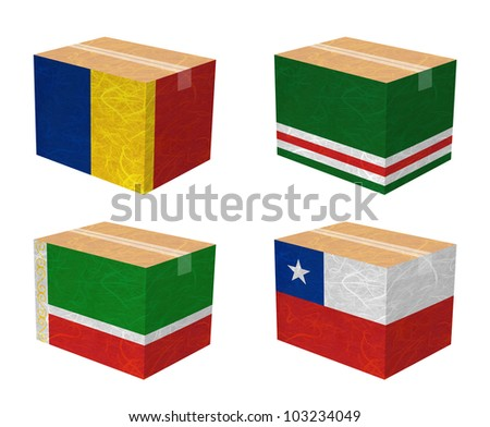Nation Flag. Box recycled paper on white background. ( Chad , Chechen Republic of Ichkeria , Chechen Republic , Chile ) - stock photo