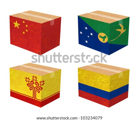 Nation Flag. Box recycled paper on white background. ( China , Christmas Island , Chuvashia , Colombia ) - stock photo