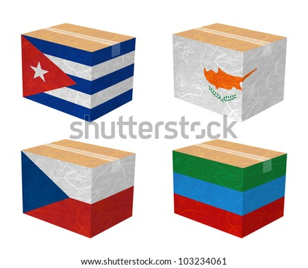 Nation Flag. Box recycled paper on white background. ( Cuba , Cyprus , Czech Republic , Dagestan ) - stock photo