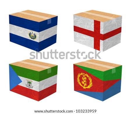 Nation Flag. Box recycled paper on white background. ( El Salvador , England , Equatorial Guinea , Eritrea ) - stock photo