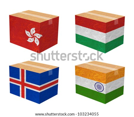 Nation Flag. Box recycled paper on white background. ( Hong Kong , Hungary , Iceland , India ) - stock photo