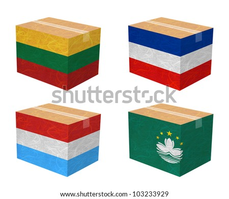 Nation Flag. Box recycled paper on white background. ( Lithuania , Los Altos , Luxembourg , Macau ) - stock photo
