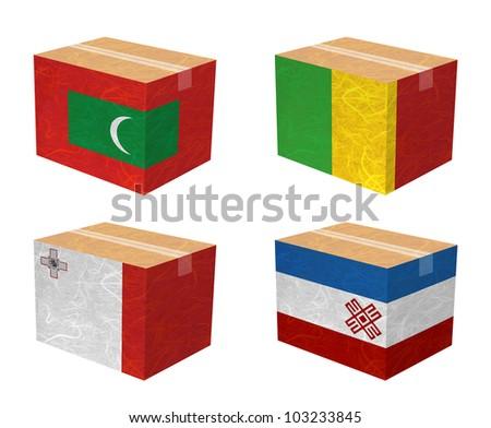 Nation Flag. Box recycled paper on white background. ( Maldives , Mali , Malta , Mari El ) - stock photo