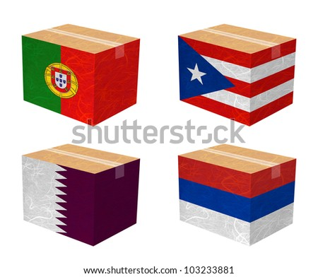 Nation Flag. Box recycled paper on white background. ( Portugal , Puerto Rico , Qatar , Republika Srpska )
