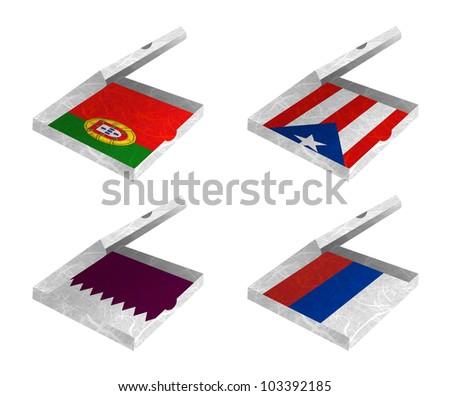 Nation Flag. Box recycled paper on white background. ( Portugal , Puerto Rico , Qatar , Republika Srpska ) - stock photo