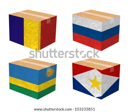 Nation Flag. Box recycled paper on white background. ( Romania , Russia , Rwanda , Saba )