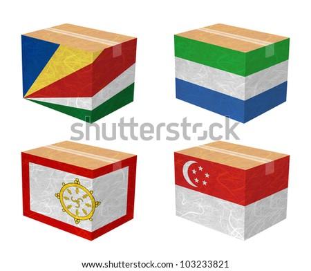 Nation Flag. Box recycled paper on white background. ( Seychelles , Sierra Leone , Sikkim , Singapore ) - stock photo