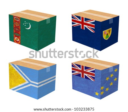 Nation Flag. Box recycled paper on white background. ( Turkmenistan , Turks and Caicos Islands , Tuva , Tuvalu ) - stock photo