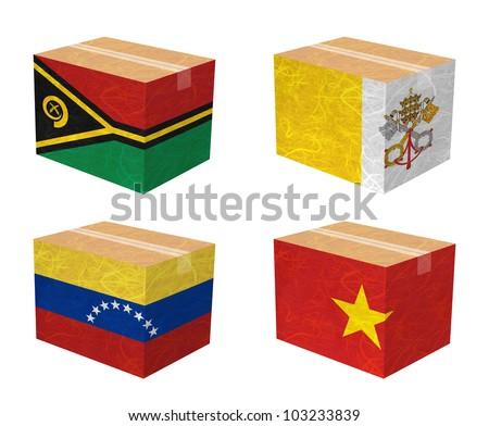 Nation Flag. Box recycled paper on white background. ( Vanuatu , Vatican City State , Venezuela , Vietnam ) - stock photo