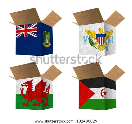Nation Flag. Box recycled paper on white background. ( Virgin Islands - UK , Virgin Islands - US , Wales , Western Sahara )