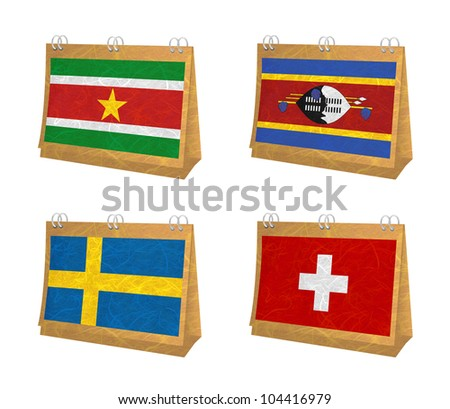 Nation Flag. Calendar recycled paper on white background. ( Suriname , Swaziland , Sweden , Switzerland )