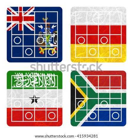 Nation Flag. Chess recycled paper on white background. ( Somaliland , South Africa , South Georgia and the South Sandwich Islands , South Ossetia ) - stock photo