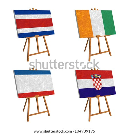Nation Flag. Easel recycled paper on white background. ( CostaRica, Cote dlvoire , Crimea , Croatia ) - stock photo