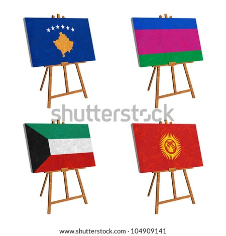 Nation Flag. Easel recycled paper on white background. ( Kosovo, Kuban Peoples Republic , Kuwait , Kyrgyztan ) - stock photo