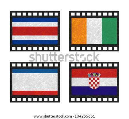 Nation Flag. Film strip recycled paper on white background. ( CostaRica, Cote dlvoire , Crimea , Croatia ) - stock photo