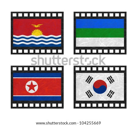 Nation Flag. Film strip recycled paper on white background. ( Kiribati , Komi , Korea North , Korea South ) - stock photo