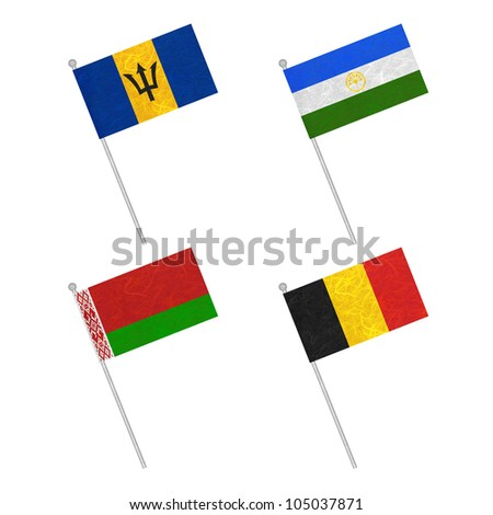 Nation Flag. Flag pole recycled paper on white background. ( Barbados , Bashkortostan , Belarus , Belgium )