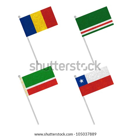 Nation Flag. Flag pole recycled paper on white background. ( Chad , Chechen Republic of Ichkeria , Chechen Republic , Chile )