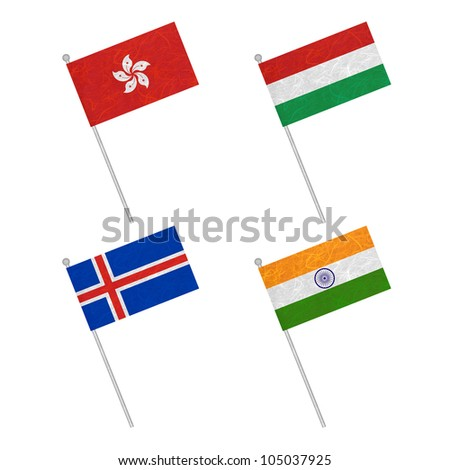 Nation Flag. Flag pole recycled paper on white background. ( Hong Kong , Hungary , Iceland , India )