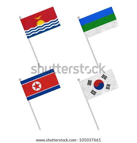 Nation Flag. Flag pole recycled paper on white background. ( Kiribati , Komi , Korea North , Korea South ) - stock photo