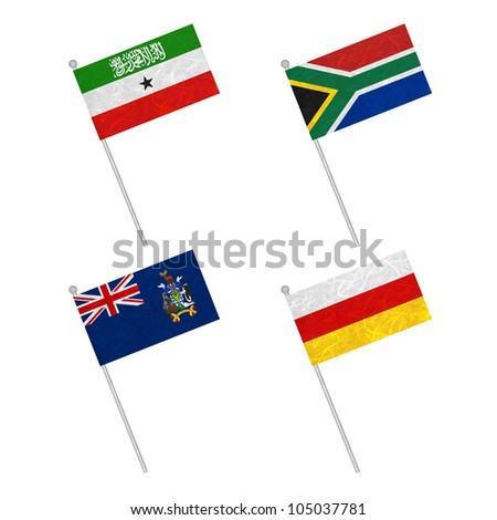 Nation Flag. Flag pole recycled paper on white background. ( Somaliland , South Africa , South Georgia and the South Sandwich Islands , South Ossetia )